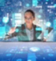 Woman in futuristic data mining concept.