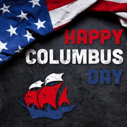 Happy Columbus Day text with old timey s