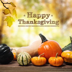 Happy Thanksgiving message with assorted