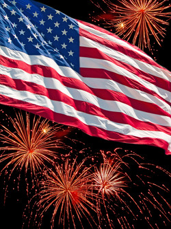 The American Flag and a Fireworks Displa