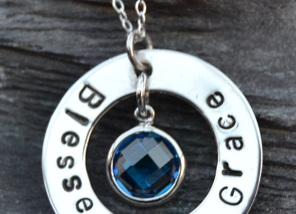 'Blessed by Grace' stamped pendant