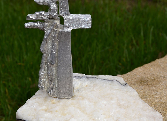 Large pewter stand on stone base