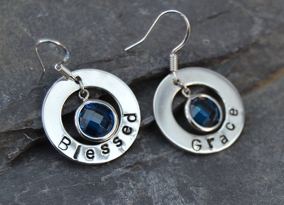 'Blessed by Grace' stamped washers with CZ's