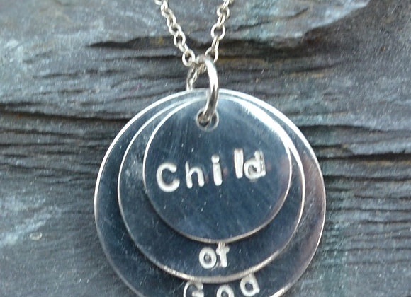 'Child of God' stamped silver disc pendant