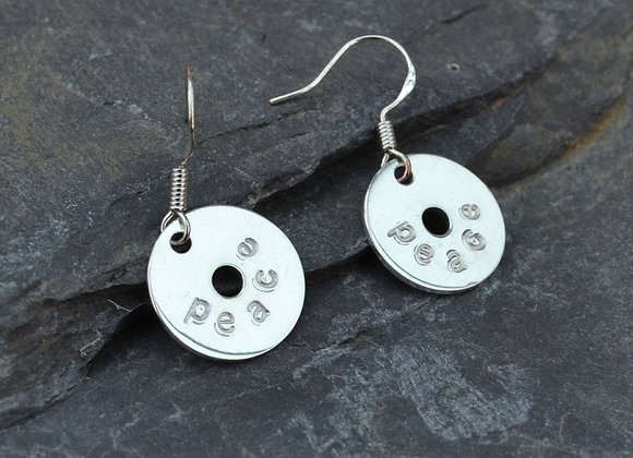 'peace' stamped silver washer earrings