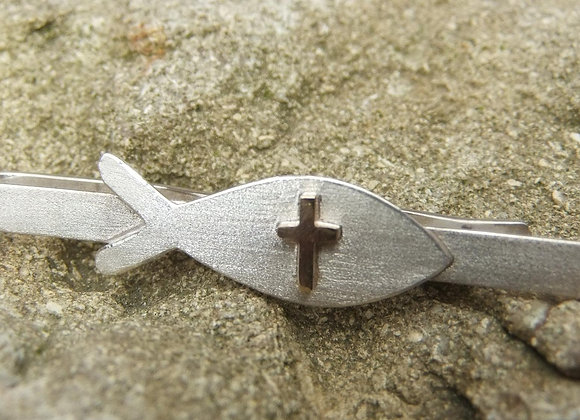 Silver christian fish and Gold cross tie slide