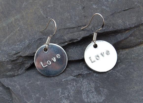 'Love' stamped earrings
