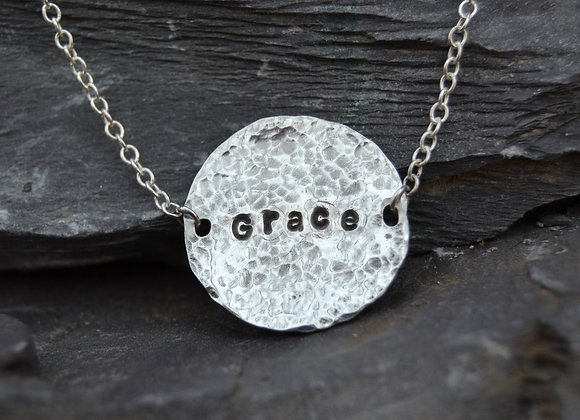 'Grace' stamped necklace