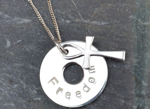 'Freedom' stamped silver washer and cross pendant