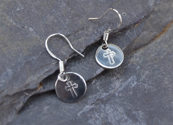 Cross stamped silver earrings