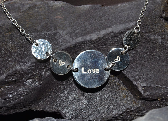 'Love' and heart stamped necklace