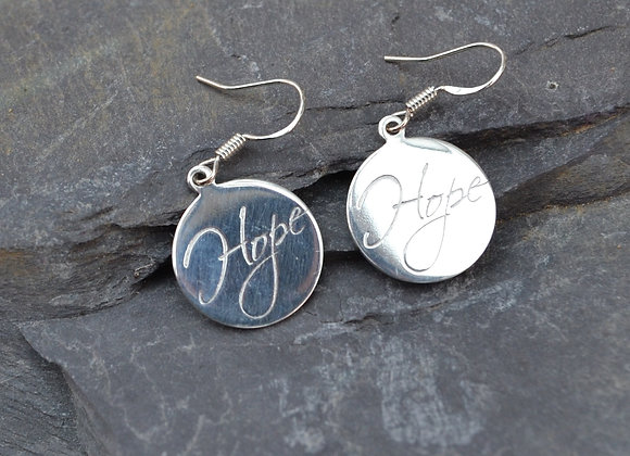 'Hope' or 'Love' engraved earrings
