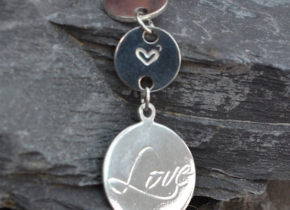 'Love'engraved silver pendant with small heart stamped