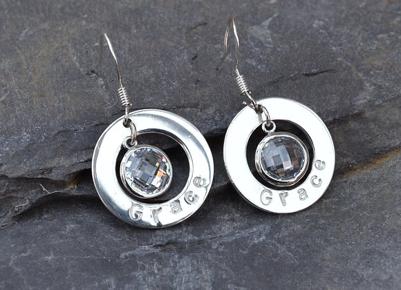 'Grace' stamped silver washer earrings with cubic zirconia drops