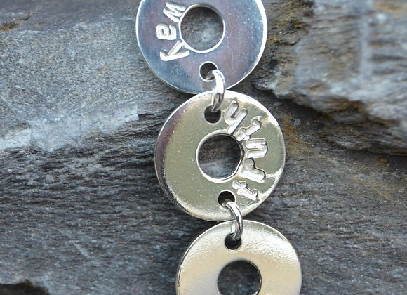 'way truth life' stamped silver washer pendant