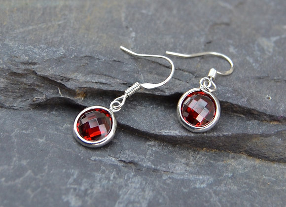 Silver and Cubic zirconia round drop earrings