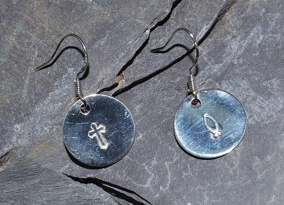 Cross and fish stamped silver earrings