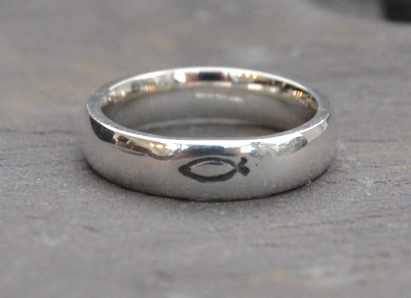 Chunky Silver Stamped Fish Ring