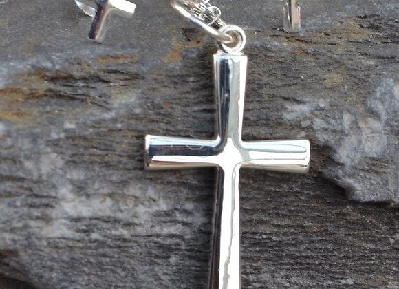 Silver cross pendant and cross earrings