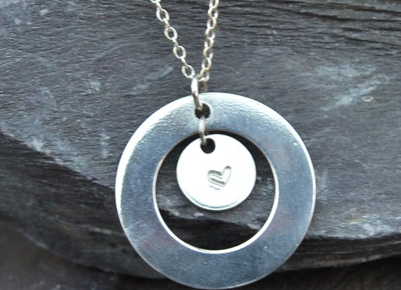 Silver heart stamped silver disc & washer pendant