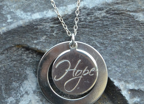 'Hope' or 'Love' engraved washer pendant