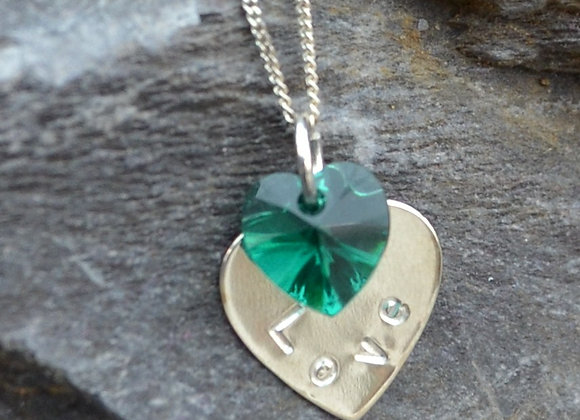 'Love' stamped silver heart pendant with heart crystal