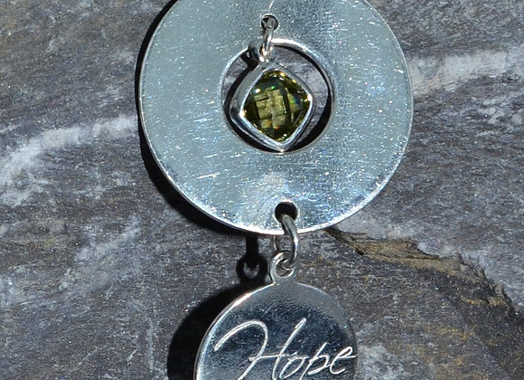 'Love' or 'Hope' engraved silver washer pendant with cubic zirconia drop