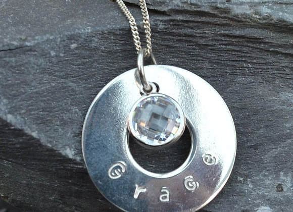 'Grace' stamped silver washer and cubic zirconia drop