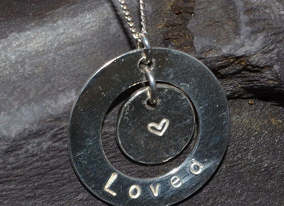 Loved stamped silver washer & stamped with small heart