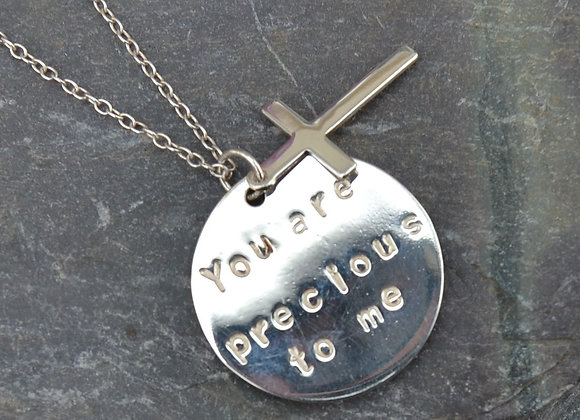 'You are precious to me' stamped silver disc and cross pendant