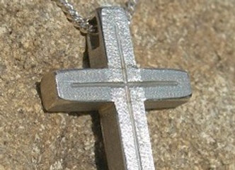 Small Silver Textured cross