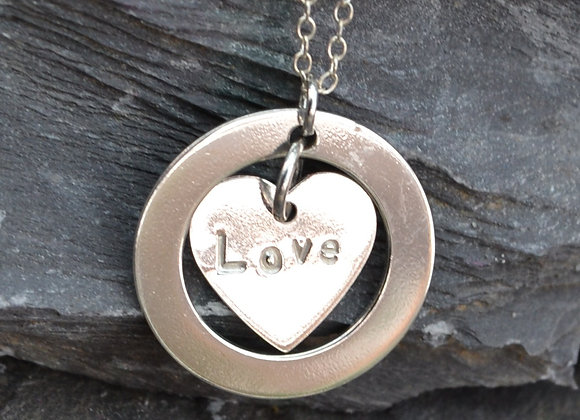 'Love' stamped silver heart & washer pendant