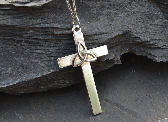 Silver cross with Celtic knot