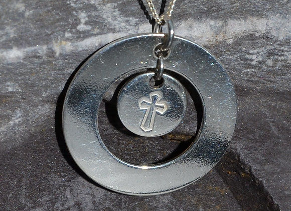 Cross stamped silver washer pendant