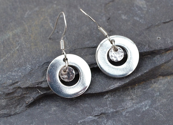 Silver washer and disc earrings