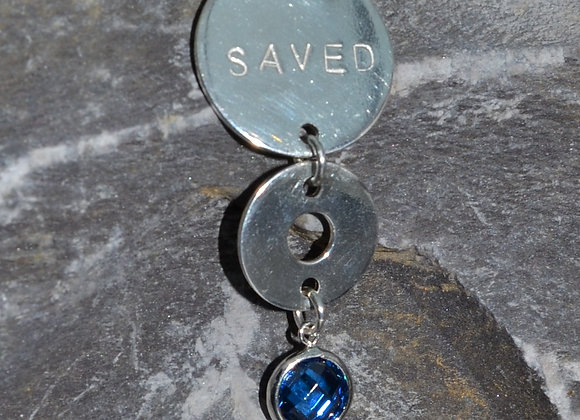 'SAVED' stamped silver washer and disc pendant