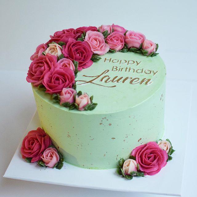 Rose flower birthday cake
