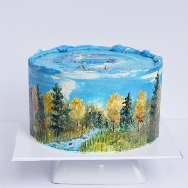 Painted woodland birthday cake Erie