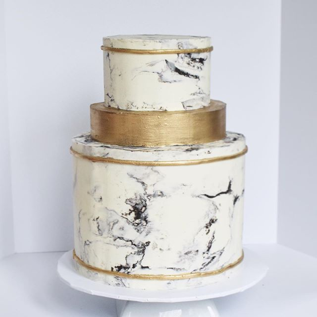 Marble and Gold Wedding Cake Erie PA