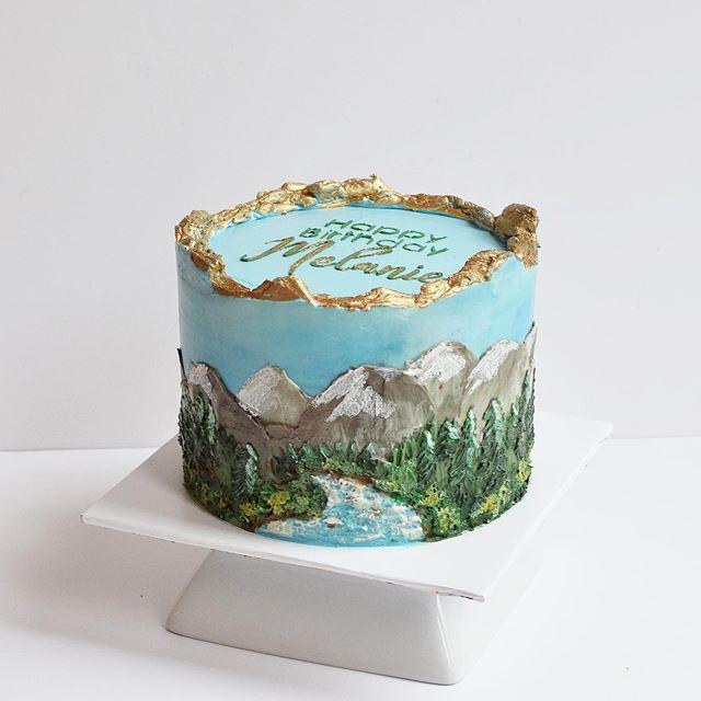 custom mountain birthday cake