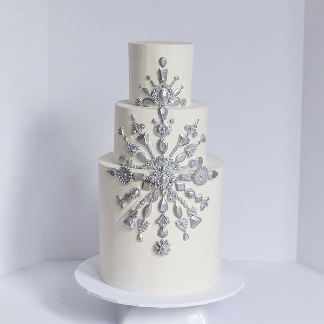 Silver Jeweled Wedding Cake Erie PA