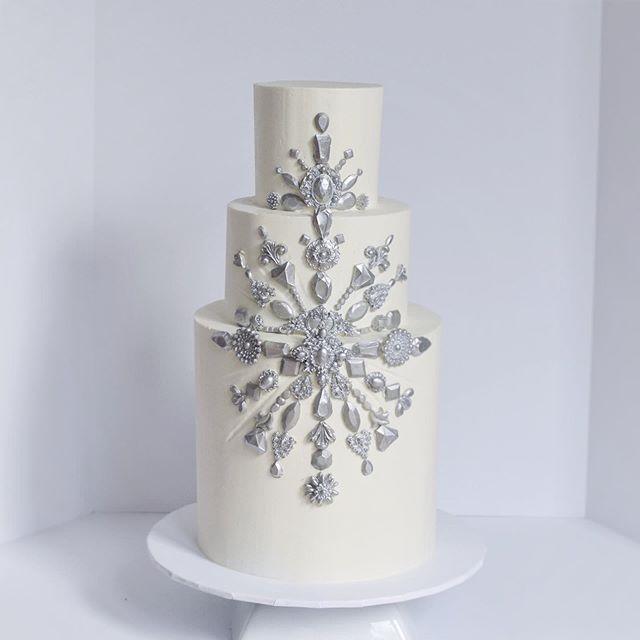 Silver Jeweled Wedding Cake Erie PA