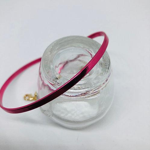 Bracelet cuir fushia
