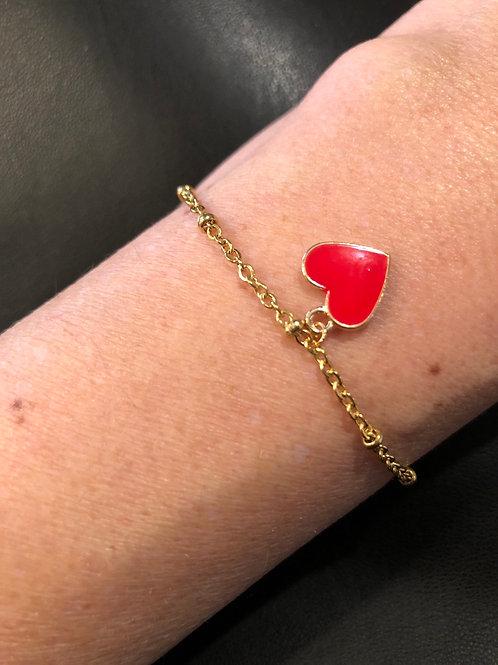 Bracelet cœur rouge