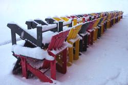 Muskoka chairs in snow