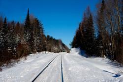 Bracebridge rail track in snow