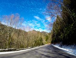 Smoky road snow