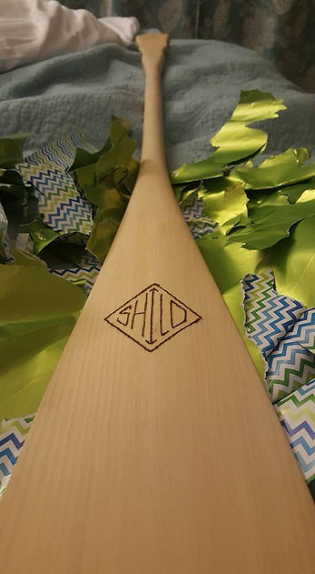 A birthday gift for Shilo, a custom canoe paddle, handcrafted by Jay Seely