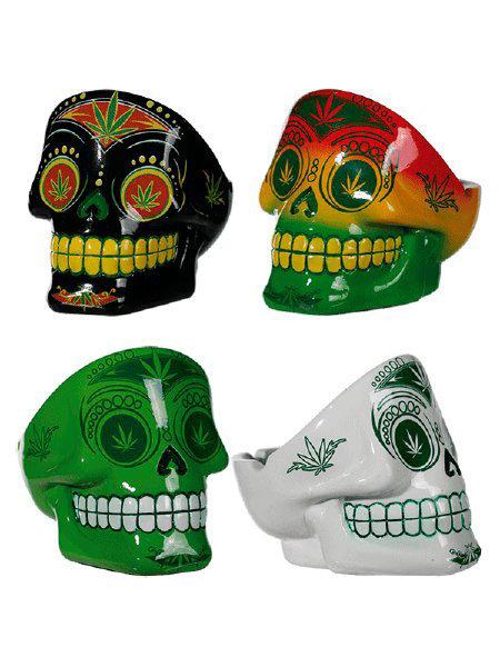 Cannabis Sugar Skull Domed Ashtray