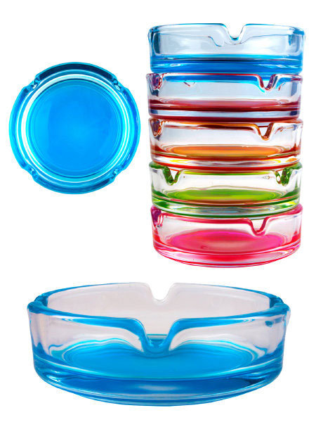 Boxed Champ Small Round Glass Ashtray Assorted Colours